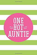 One Hot Auntie: 6x9 Lined Personalized Writing Notebook Journal, 120 Pages – Lime Green Stripes with Pink Family Name and Funny, Inspirational Quote