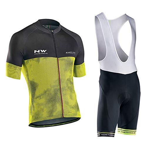 Fxwj Fietskleding Set Heren Dames Ademend Snel Korte mouwen fietsen Jersey korte mouwen met 9D zeem fietsshirt, A,S