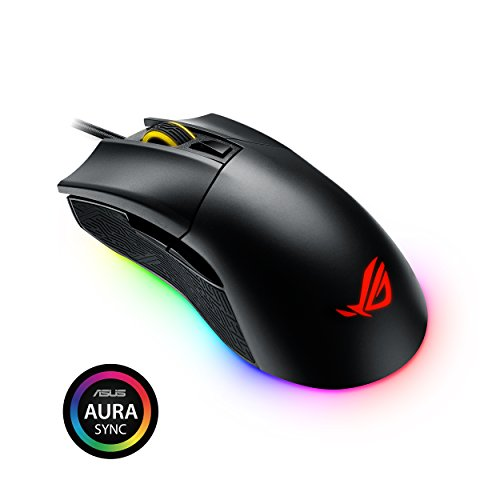 ASUS ROG Gladius II Origin Wired USB Optical Ergonomic FPS Gaming Mouse featuring Aura Sync RGB, 12000 DPI Optical, 50G Acceleration, 250 IPS sensors and swappable Omron switches,Black