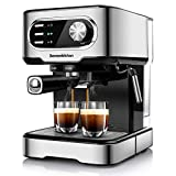 Bonsenkitchen Espresso Machine,15 Bar Coffee Machine With Foaming Milk Wand, High Performance Coffee Maker For Espresso, Cappuccino, Latte, Machiato