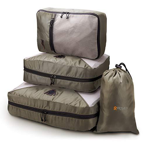 【Back to School Deal】REYLEO Set di 4 Cubi da Imballaggio Cubi Organizzatori Cubi da Viaggio, Classificazione Logo, Cofanetto da Imballaggio Borsa in Borsa per Abiti/Cosmetici/Scarpe - CCPO1
