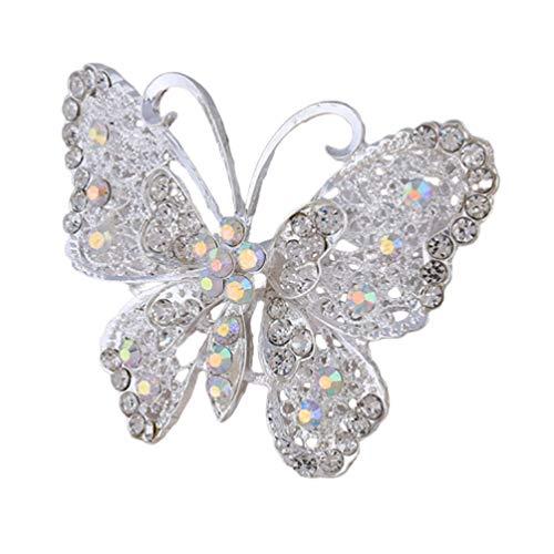 PRETYZOOM Mujeres Niñas Broche de Mariposa Pin Broches de Perlas de Cristal de Diamantes de Imitación de Moda para Bodas Nupciales (Plata)