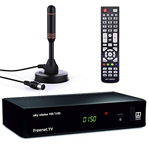 sky vision 150 T-HD DVBT 2 Receiver mit Antenne (Stabantenne) - Digitaler Receiver für DVB-T2 (HEVC H.265 Decoder, HDMI, USB 2.0, LAN, SCART, Dolby DIGITAL Plus, freenet TV Receiver), Schwarz