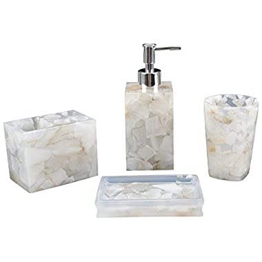 AIMONE Bathroom Accessory Set, Natural White Marble Inside Bath Gift Set of 4 Pieces, includes Soap Dispenser, Toothbrush Holder, Tumbler, Soap Dish - High Class Home Decor Gift