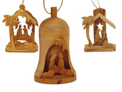Holy Land Imports Bethlehem Olive Wood Christmas Ornament Set