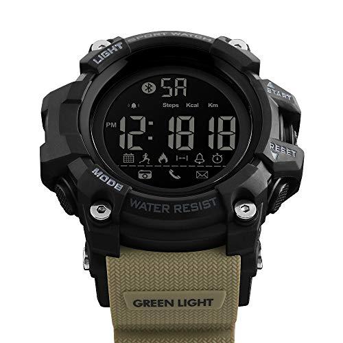 Msxx Bluetooth Smart Watch, Neues Upgrade Outdoor Tactical Adventure Wandersport Multi-Function Step Reminder Watch, Wild Survival Watch,Khaki