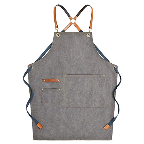 Xzbnwuviei Denim Work Apron,Chef Apron, Cotton Canvas Cross Back Adjustable Apron with Pockets for Women and Men, Kitchen Cooking Baking Bib Apron, Adjustable Strap and Large Pockets