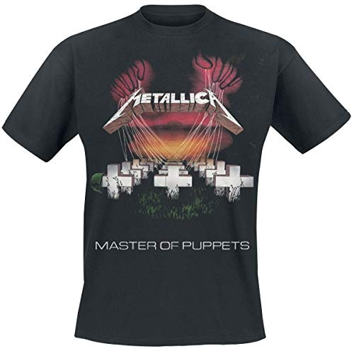 Metallica Herren Master of PuppetSropean Tour '86_Men_bl_ts: L T-Shirt, Schwarz (Black Black), Large