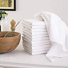 Flour Sack Dish Towels, 100% Cotton, Set Of 12 (27 X 27 Inches), Vintage Multi-Purpose White Kitchen Towels, Very Soft, Highly Absorbent, Lint Free, Pre-Washed Tea Towels For Embroidery & Print