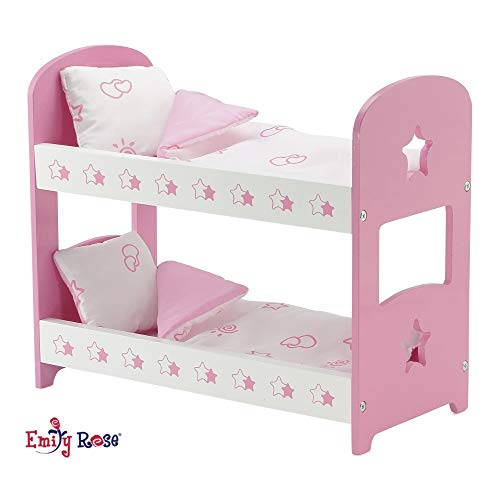 Emily Rose 14 Inch Doll Furniture | Lovely Pink and White Star Themed Doll Bunk Bed, Includes Plush Reversible Bedding | Fits 14' American Girl Wellie Wishers Dolls