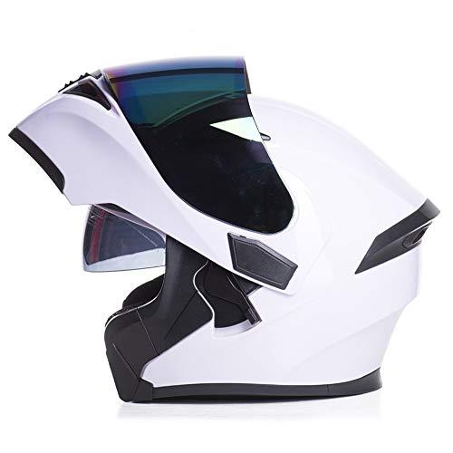 U/D for Hombre de la Cara Llena de Motos Cascos Viseras Dobles compite con los Casco de protección de Las Mujeres Motocross Cascos (Color : Blanco, Size : M)