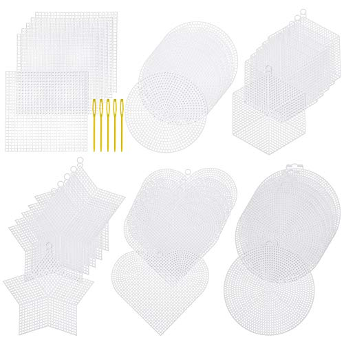 Pllieay 24 Pieces 4-6 Inch Mesh Plastic Canvas Sheets Kit Including 24 Pieces 6 Shapes Clear Plastic Canvas and Embroidery Tools for Embroidery Plastic Canvas Craft