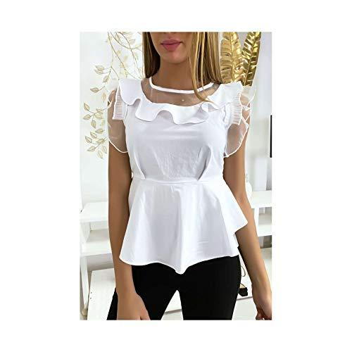Miss Wear Line - blouse wit met stuurwiel en tule (N-7/1-18318-blance-H798)