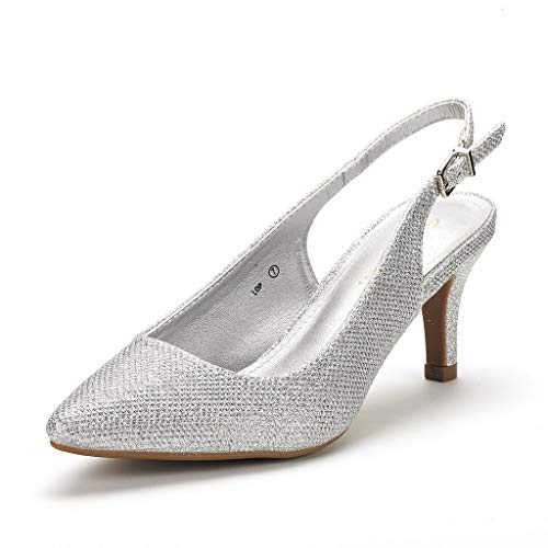 DREAM PAIRS Women's Lop Silver Glitter Slingback Low Heels Shoes - 7 M US