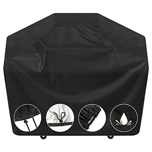 Grill Cover, BBQ Grill Cover 58 inch,Gas Grill Cover,Waterproof BBQ Cover,UV Resistant,Durable and Convenient,Rip Resistant,Fits Grills of Weber Char-Broil Nexgrill Brinkmann Grills and More,Black