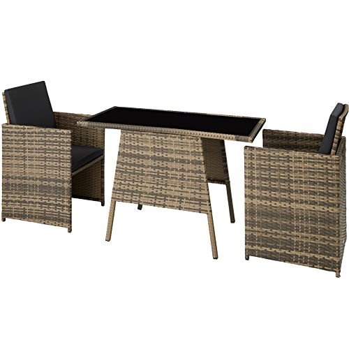 TecTake 800682 Polyrattan Sitzgruppe für 2 Personen, zusammenschiebbar, 2 Stühle & 1 Tisch mit Glasplatte, inkl. Sitz- und Rückenkissen – Diverse Farben – (Natur | Nr. 403733)