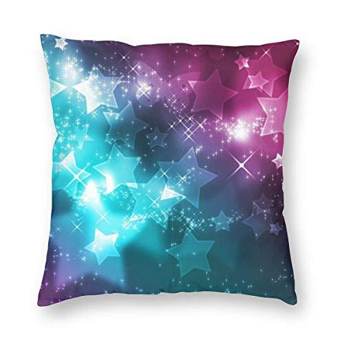 GOSMAO Funda de Almohada Repuesto de Estrellas Femeninas Algodón Lino Throw Pillow Case Funda de Almohada para Cojín 45x45 cm