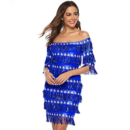 CHARTOU Womens Cute Off The Shoulder Sequin Fringe Mini Short Dresses Evening Gown (Blue, Medium)