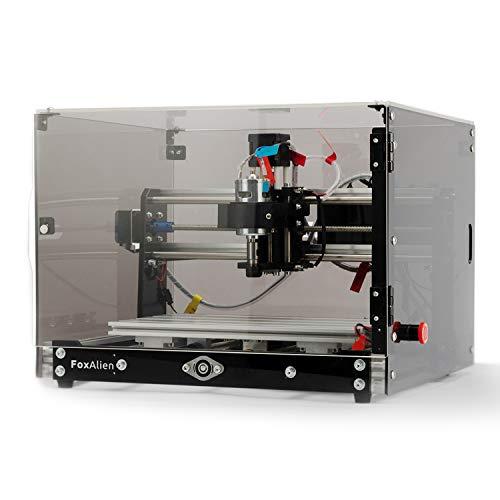 Desktop CNC Fräsmaschine/Graviermaschine 3018-SE V2 mit Transparenten Kasten, 3-Achsen Gravurfräsmaschine für Holzstich, Acryl Gravur, Aluminium Schnitzerei