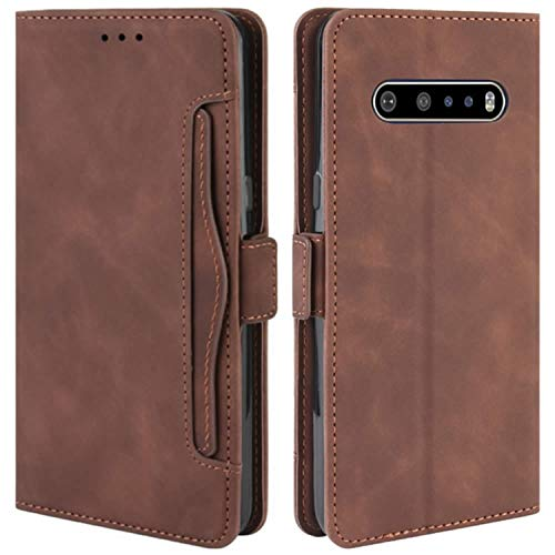 HualuBro Handyhülle für LG V60 ThinQ Hülle Leder, Flip Hülle Cover Stoßfest Klapphülle Handytasche Schutzhülle für LG V60 ThinQ 5G Tasche (Braun)