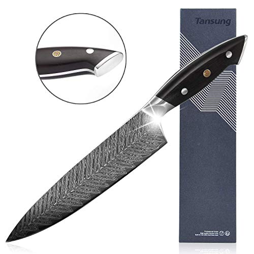 tansung Küchenmesser Kochmesser Messer Profi Chefmesser Extrem Scharf Rostfrei Edelstahl Universalmesser 20 cm