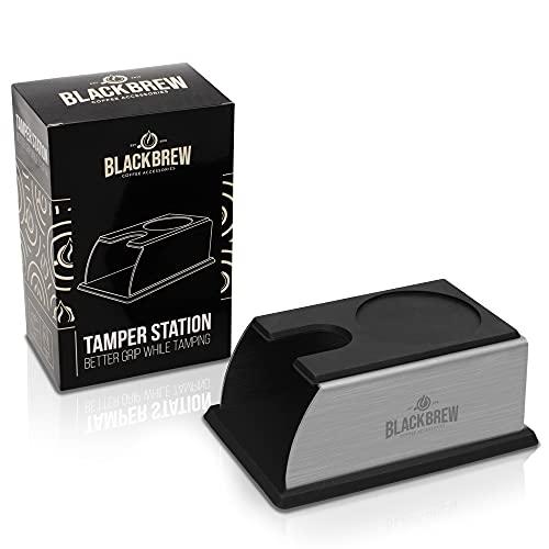 BLACKBREW Premium Tamperstation - Tamper Station aus Edelstahl und Silikon für alle Tamper und Siebträger - Andrückstation als Zubehör für perfekten Espresso auf Barista Niveau
