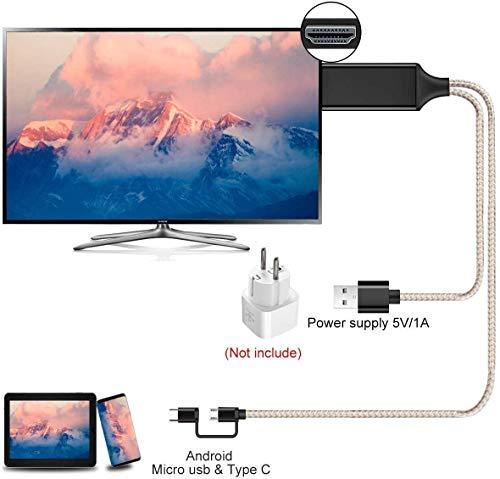 Kdely USB C auf HDMI Kabel, 2 in 1 Micro HDMI Kabel USB Typ C zu HDMI Kabel 6.6 Fuß von MHL zu HDMI 1080P HD HDTV Adapter für alle Android Smartphones auf Fernseher/Projektor/Monitor