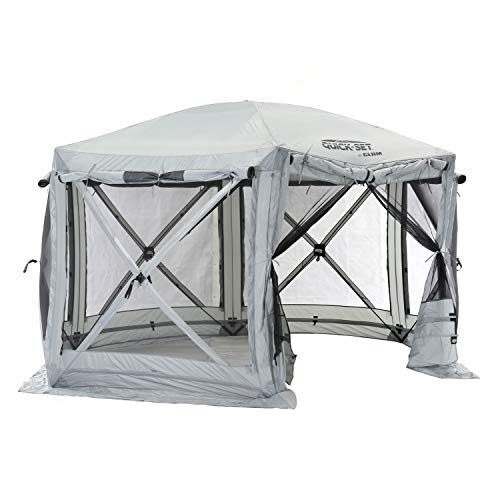 Quick Set 15221 Pavilion 12.5 Foot Portable Outdoor Gazebo Canopy Shelter Screen Tent for Picnics & Tailgating, Gray