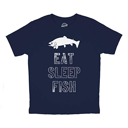 Crazy Dog Tshirts - Youth Eat Sleep Fish T Shirt Funny Fishing Tee Cool Graphic Fun Crazy for Kids (Blue) - XL - Jungen - XL