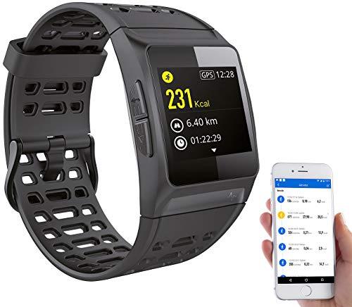Newgen Medicals Smartwatch GPS Puls: GPS-Sportuhr, Bluetooth, Fitness, Puls, Nachrichten, Farbdisplay, IP68 (Sport Armband)