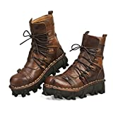 Lecc Men's Leather Boots, Real Leather Waterproof Aviator Boots Gothic Leather Punk Steampunk Boots Western Cowboy Boots Uniforms 39 Brown2