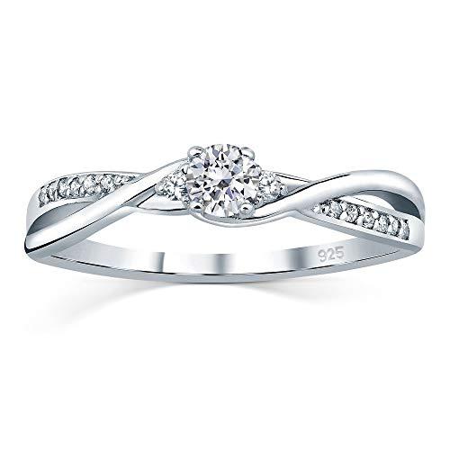SILVEGO Verlobungsrring mit Swarovski® Zirconia 925 Sterling Silber (57 (18.1))