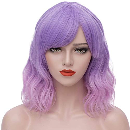 Mersi Lavender Purple Wigs for Women Girls Short Wavy Cute Mixed Pink Wig with Bangs Cosplay Costume Wig for Halloween Party S042PK