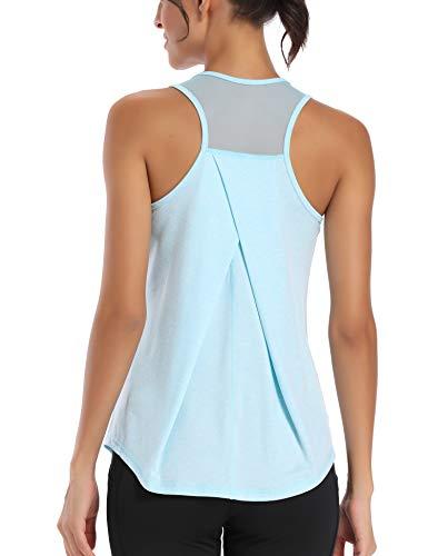 Aeuui Workout Tops for Women Mesh Racerback Tank Yoga Shirts Gym Clothes Light Blue
