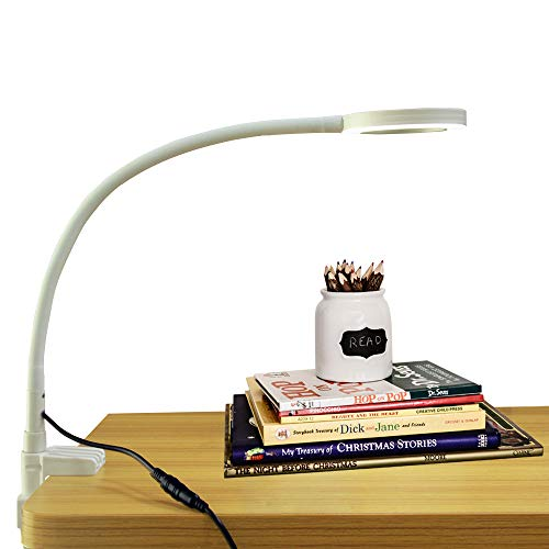 Lupa de mesa con brazo ajustable con cuello de cisne y regulable de iluminación con del | lupa de mesa y de escritorio de calidad superior con objetivo de aumento 3veces
