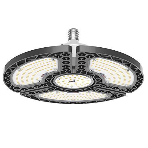 LED Garage Light - GLORIOUS-LITE LED Garage Ceiling Light - 6000LM Bright Deformable Garage Lighting - 500W Halogen Lamp Equivalent - E26 Bulb Base, LED Workshop Lights for Garage, Basement