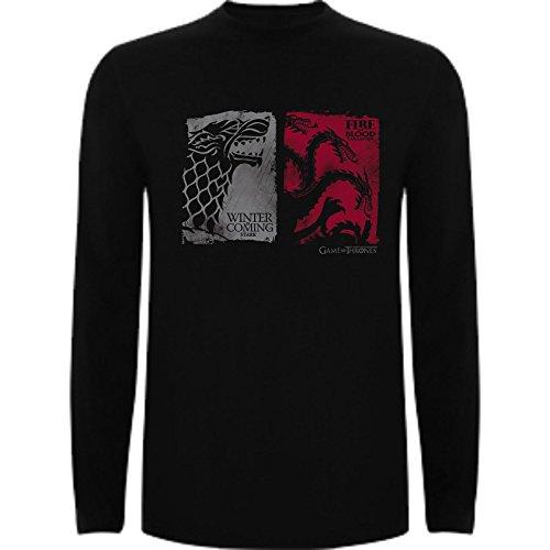 Camiseta Manga Larga de Mujer Juego de Tronos Tyrion Daenerys Dragon Cuervo L