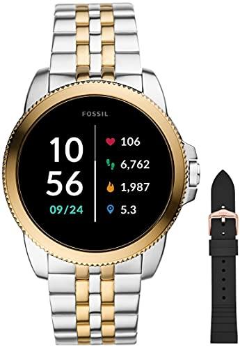 Fossil Smartwatch GEN 5E Connected da Uomo con Wear OS by Google, Notifiche per Smartphone e NFC, con Cinturino in Acciaio Inossidabile Bicolore+Cinturino dell'orologio Da donna, Nero (Silicone)