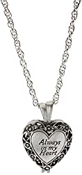 """Always in My Heart"" Memorial Urn Locket-Filigree Pewter Tone"