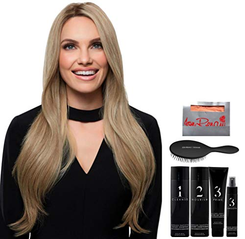 Bundle - 8 Items: Kim Remy Human Hair by Jon Renau, Christy's Wigs Q & A Booklet Luxury Shampoo & Conditioner Blown Away Treatment Mist Paddle Brush & Wig Cap - Color: 24BRH18
