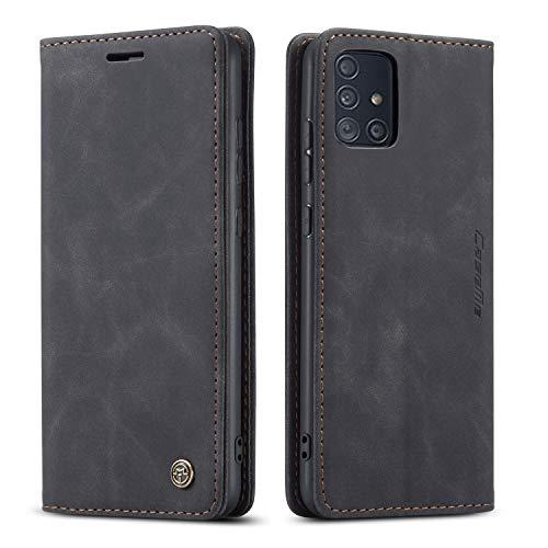mvced Funda para Samsung Galaxy A51 4G,Funda Móvil Funda Libro con Tapa Magnética Carcasa,Negro