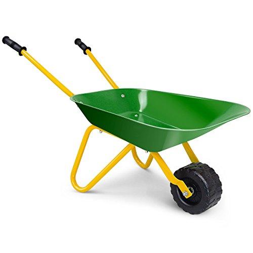 COSTWAY Kids Metal Wheelbarrow, Tote Dirt/Leaves/Tools Yard Rover Steel Tray, Children Bricks Toy Soil Garden Trolley Kar (Green)