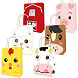 Farm Animal Bags Barnyard Party Favor Birthday Gift Treat Goody Bag 18 Pack for Valentines Decoration