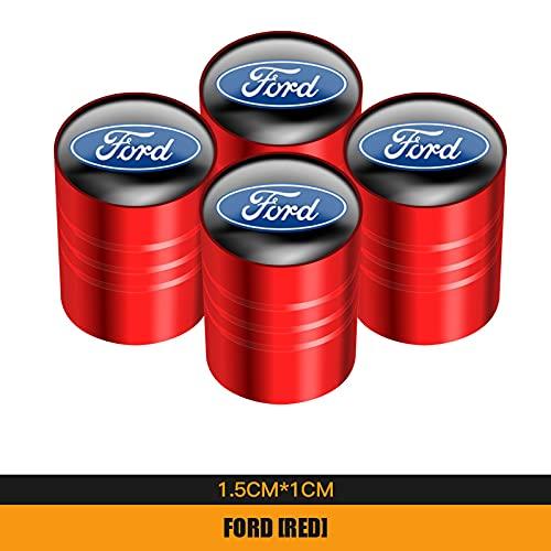 Tapones para Válvulas de neumáticos de Coche 4 unids Metal Coche Rueda de Aire Válvula de Aire Vástago Tapas Tallo Accesorios a prueba de polvo Compatible con Ford Focus Ranger Mondeo S Max Everest Fi