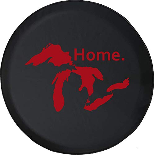 State of Michigan Great Lakes Detroit - Cubierta de neumático ajustable con protección solar impermeable, adecuada para automóvil, SUV, Rv, remolque, cubierta de rueda de neumático de 16 pulgadas