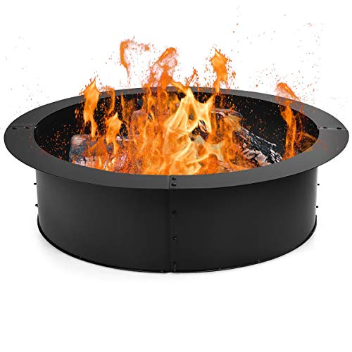 S AFSTAR Fire Ring, Heavy Duty Steel DIY Fire Pit Rim, Above/In-Ground Fire Pit Liner for Patio Backyard Camping, 36 Inch Outer/30 Inch Inner Diameter