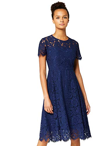 Amazon-Marke: TRUTH & FABLE Damen Midi A-Linien-Kleid aus Spitze, Blau (Blue), 40, Label:L