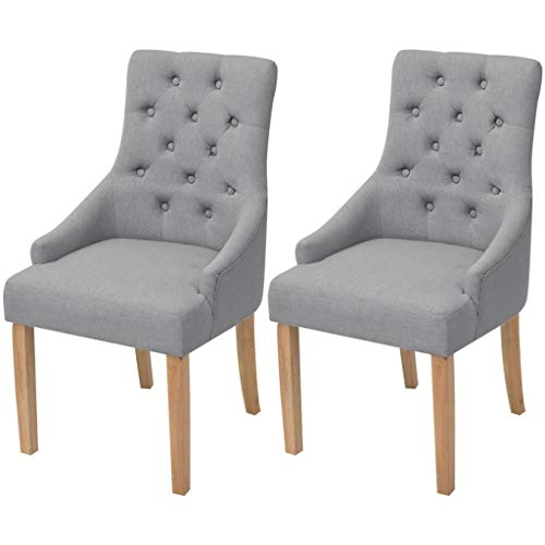 Tidyard Eichenholz Esszimmerstühle 2 STK. Hellgrau Stoff Oak Dining Chairs Set of 2 Light Grey Fabric Furniture Chairs Kitchen Dining Chairs