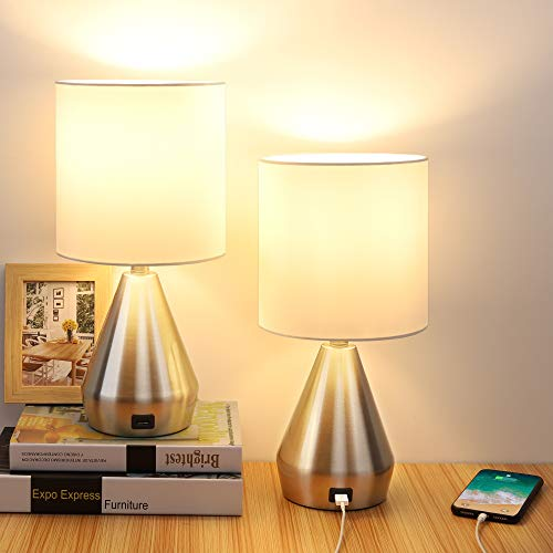 Touch Control Table Lamp, 3 Way Dimmable Bedside Desk Lamps with USB Port, Retro Silver Metal...