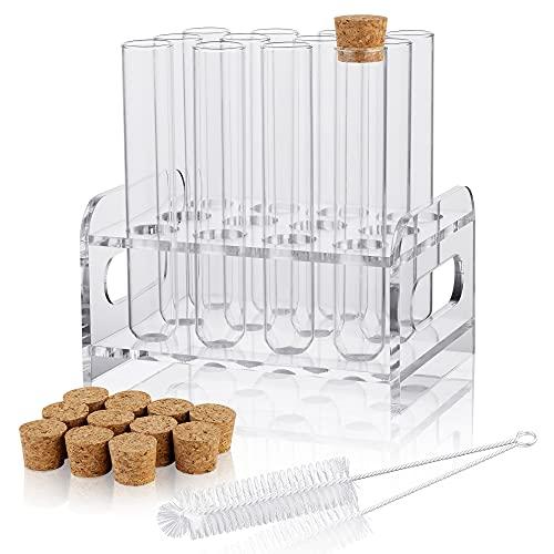 Ackers Science 12 tubos de ensayo de vidrio de 25 x 150 mm (50 ml) con tapones de corcho, 1 estante de material acrílico